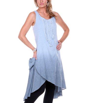 Blue Ombre Linen Tulip-Front Dress - Women & Plus
