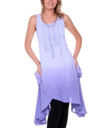 Lavender Ombre Linen Tulip-Front Dress - Women & Plus