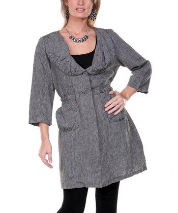 Black Flared Linen Jacket - Women & Plus