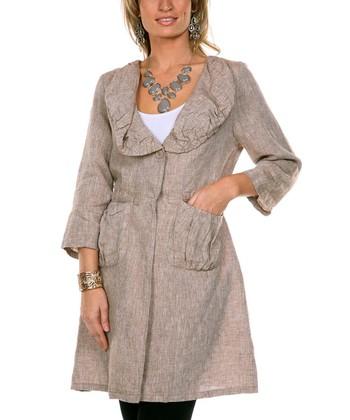 Mocha Flared Linen Jacket - Women & Plus