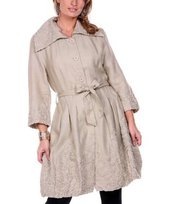 Beige Embroidered Linen Jacket - Women & Plus