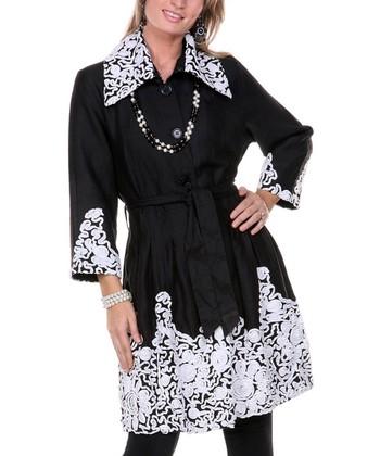 Black & White Embroidered Linen Jacket - Women & Plus