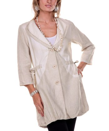 Beige Double Collar Linen Jacket - Women & Plus