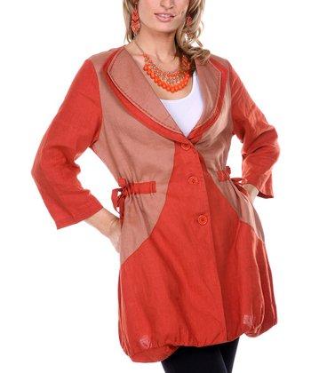 Rust Double Collar Linen Jacket - Women & Plus