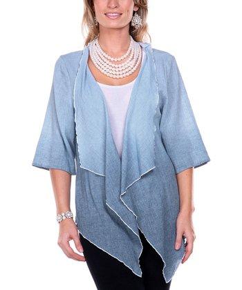 Blue Ombre Linen Open Cardigan - Women & Plus