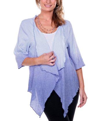 Lavender Ombre Linen Open Cardigan - Women & Plus