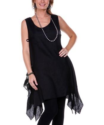 Black Embroidered Petal Linen Tunic - Women & Plus