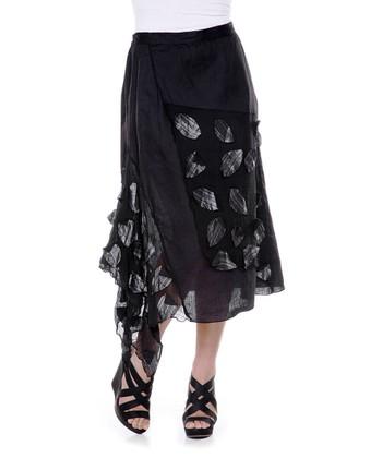 Black Petal Linen Skirt - Women & Plus