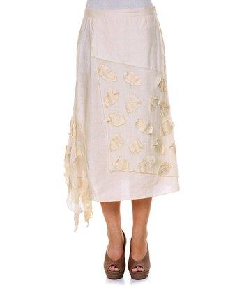Cream Petal Linen Skirt - Women & Plus