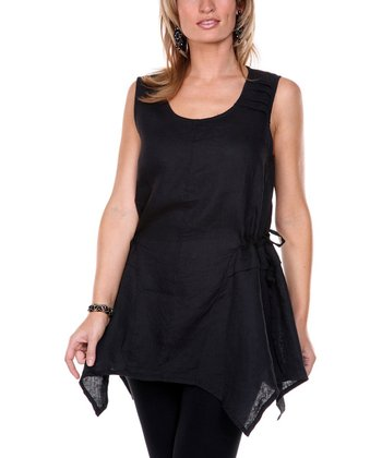 Black Handkerchief Linen Tunic - Women & Plus