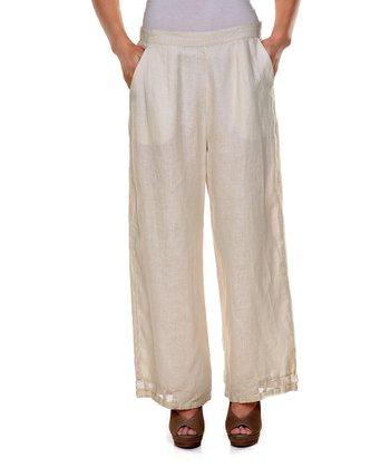 Cream Sheer-Trim Linen Pants - Women & Plus