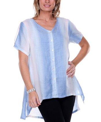 Blue Multi Hi-Low Linen Button-Up - Women & Plus