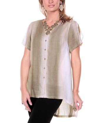 Mocha Multi Hi-Low Linen Button-Up - Women & Plus