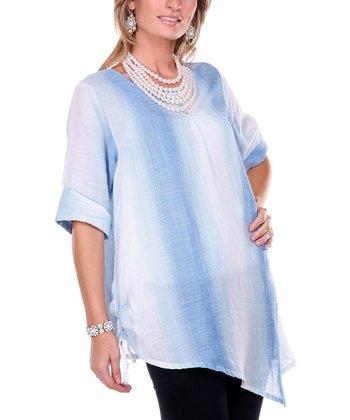 Blue Ombre Stripe Linen Top - Women & Plus