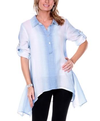 Blue Ombre Stripe Linen Sidetail Tunic - Women & Plus