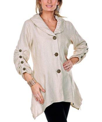 Beige Linen Sidetail Jacket - Women & Plus