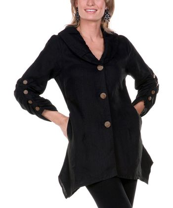 Black Linen Sidetail Jacket - Women & Plus