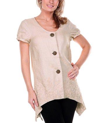 Beige Embroidered Linen Cap Sleeve Top - Women & Plus