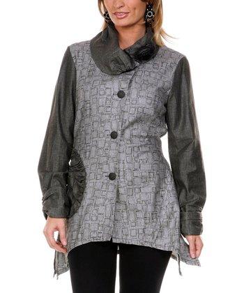 Black Rose Linen Jacket - Women & Plus
