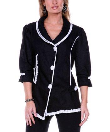 Black Embroidered Linen Jacket - Women & Plus