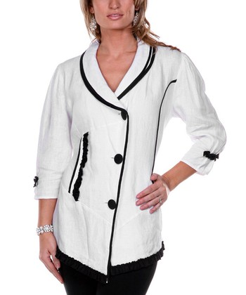 White Embroidered Linen Jacket - Women & Plus