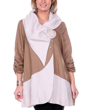 Brown Rose Color Block Linen Jacket - Women & Plus