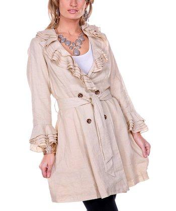 Beige Ruffle Linen Trench Coat - Women & Plus