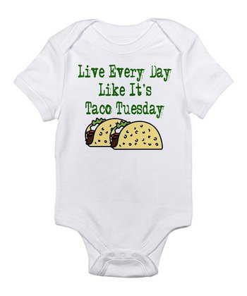 White 'Taco Tuesday' Bodysuit - Infant