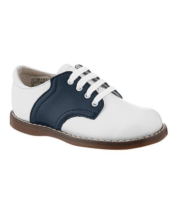 White & Navy Cheer Oxford