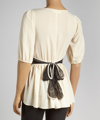 Cream & Black Lace Tie Top