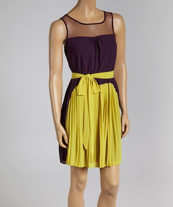 Purple & Lime Color Block Dress