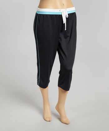 Black & Blue Roaming Drawstring Capri Yoga Pants - Plus