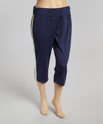 Navy Harbor & White Open Season Capri Yoga Pants - Plus