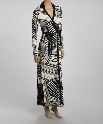 Black & White Abstract Wrap Dress