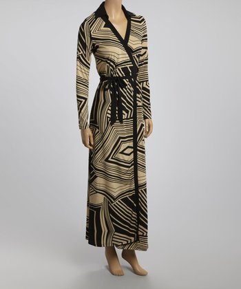 Black & Beige Abstract Wrap Dress