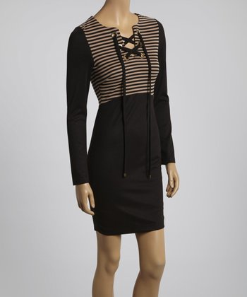 Black & Beige Stripe Sheath Dress
