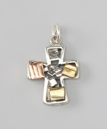 Tri-Color Sterling Silver Quilted Cross Pendant