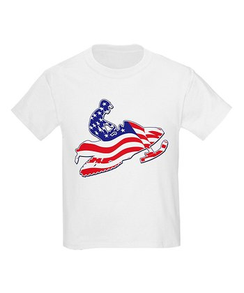 White Patriotic Snowmobile Tee - Toddler & Kids