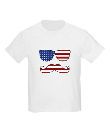 White Patriotic Funny Face Tee - Toddler & Kids