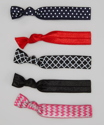 Pink Zigzag & Navy Polka Dot Hair Tie Set