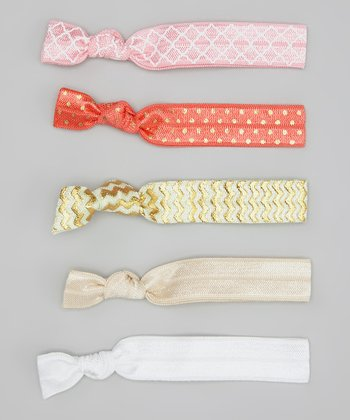 Gold Zigzag & Coral Polka Dot Hair Tie Set