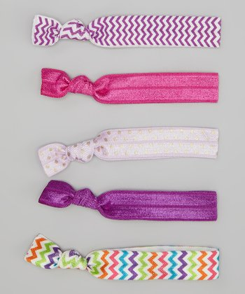 Purple Zigzag & Pink Hair Tie Set
