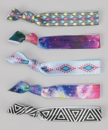 Blue Diamond & Pink Tie-Dye Hair Tie Set