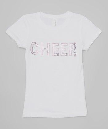 White & Purple 'Cheer' Tee - Girls