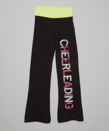 Neon Yellow Sequin 'Cheerleading' Yoga Pants - Toddler & Girls