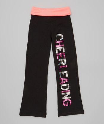 Neon Pink Sequin 'Cheerleading' Yoga Pants - Toddler & Girls