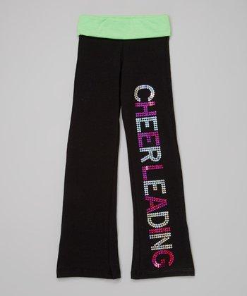 Neon Lime Sequin 'Cheerleading' Yoga Pants - Toddler & Girls