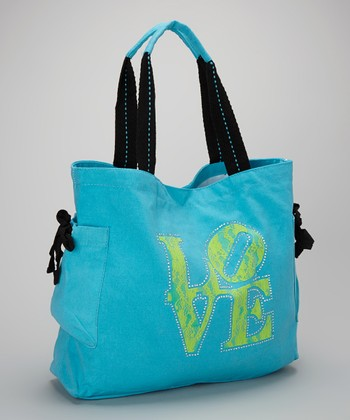 Happy Kids for Kids Turquoise & Lime 'Love' Tote
