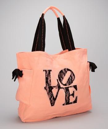 Happy Kids for Kids Peach & Black 'Love' Tote