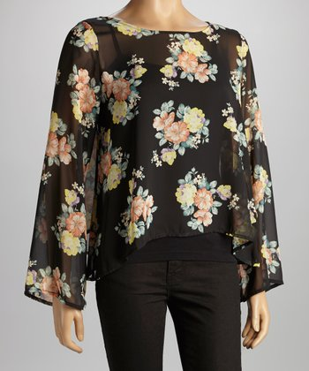 Black & Pink Floral Chiffon Open Back Top